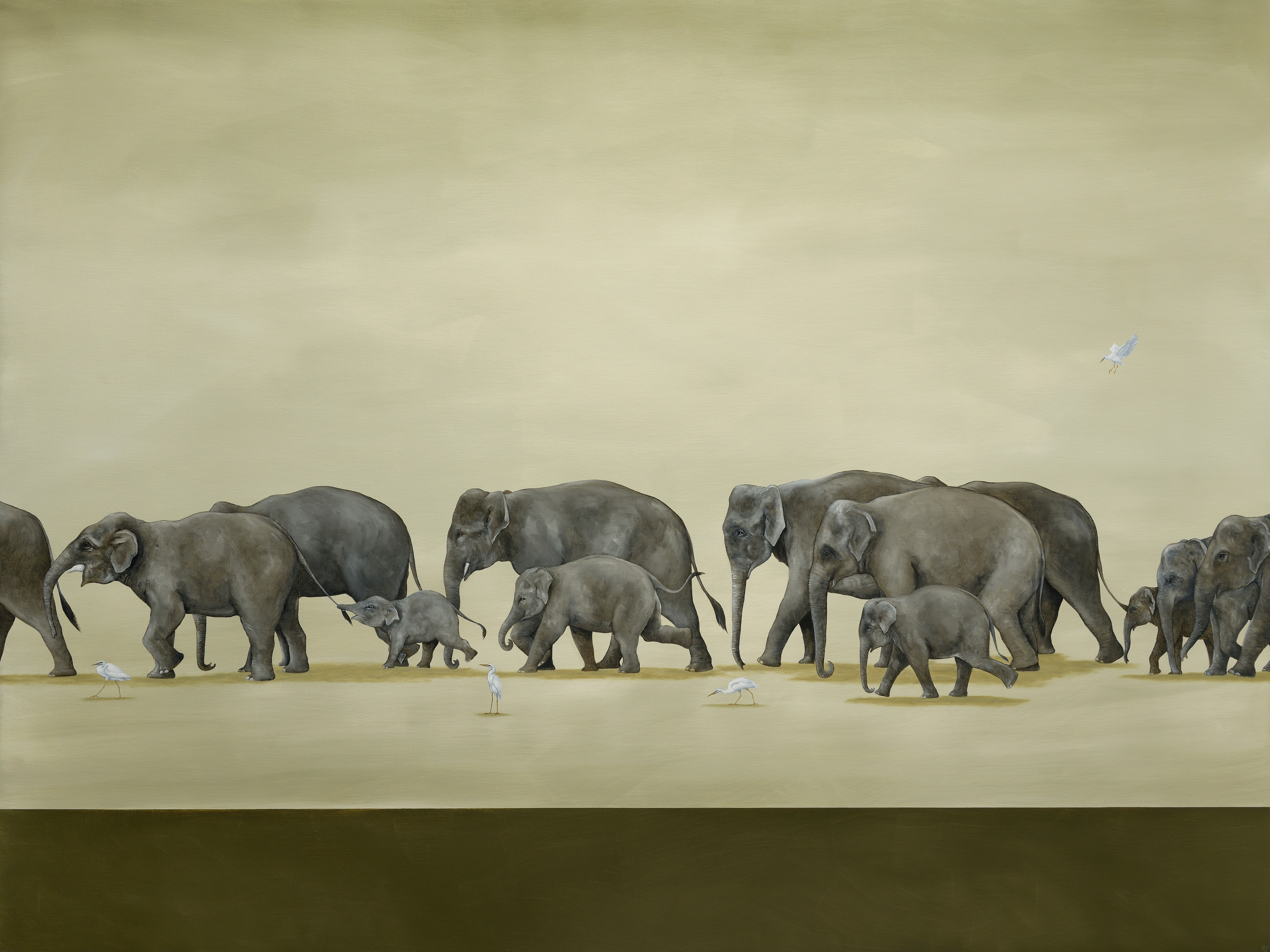On Parade, Oil On Linen, 130 x 173 cm. Sold